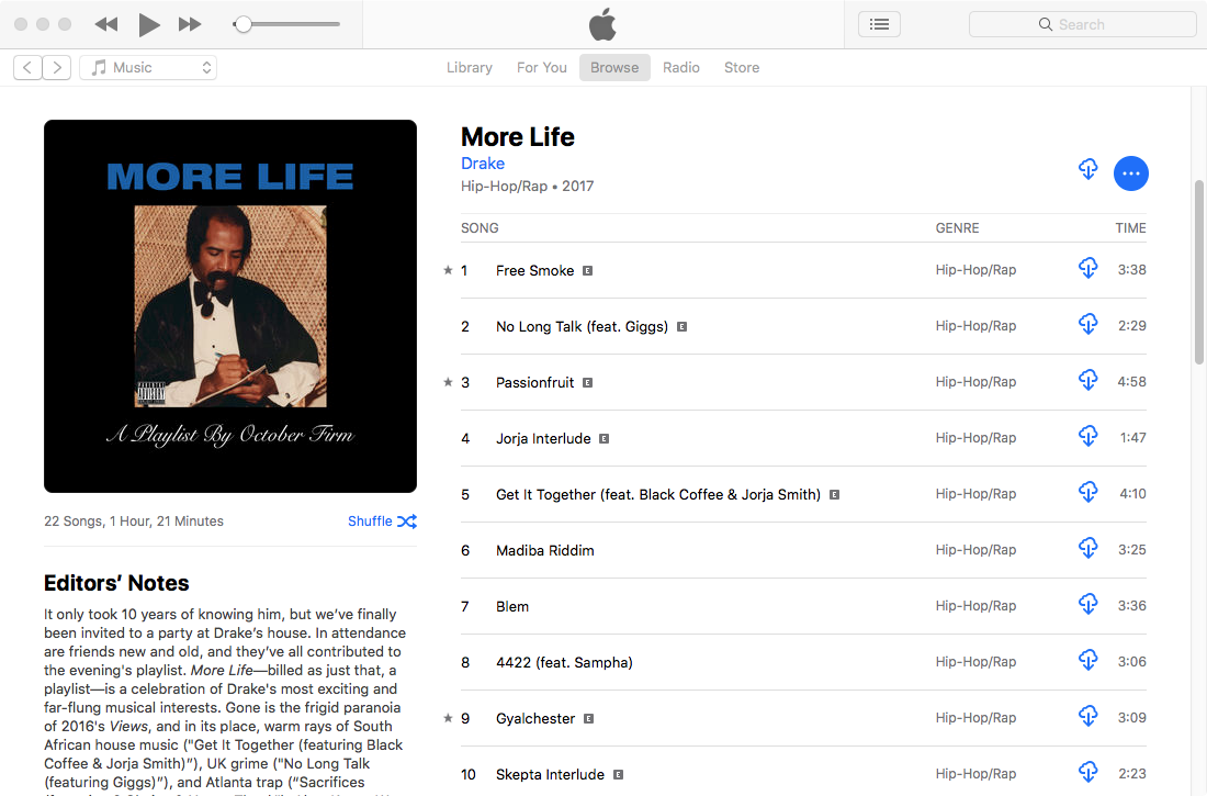 Download Drake More Life to MP3 from Apple Music