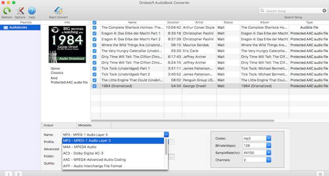 Ondesoft AudioBook Converter For Mac Screenshot