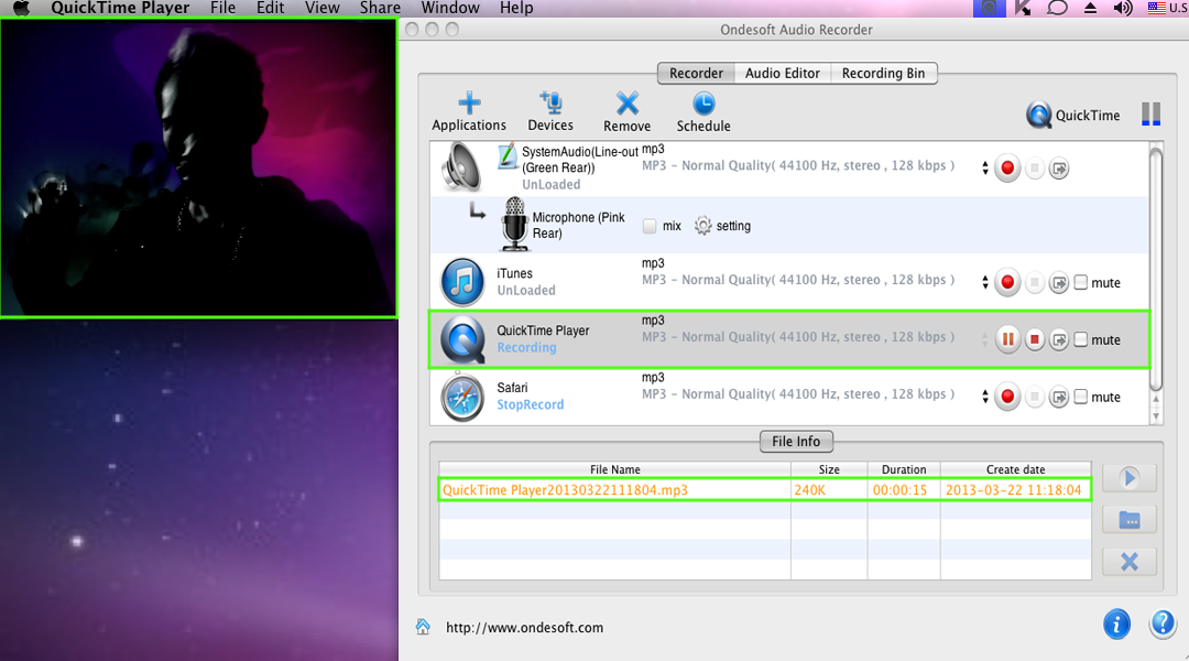 How to Record QuickTime movie, music to MP3 On Mac OS with Ondesoft
