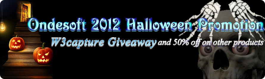 Ondesoft 2012 Halloween Treat: W3capture Giveaway and 50