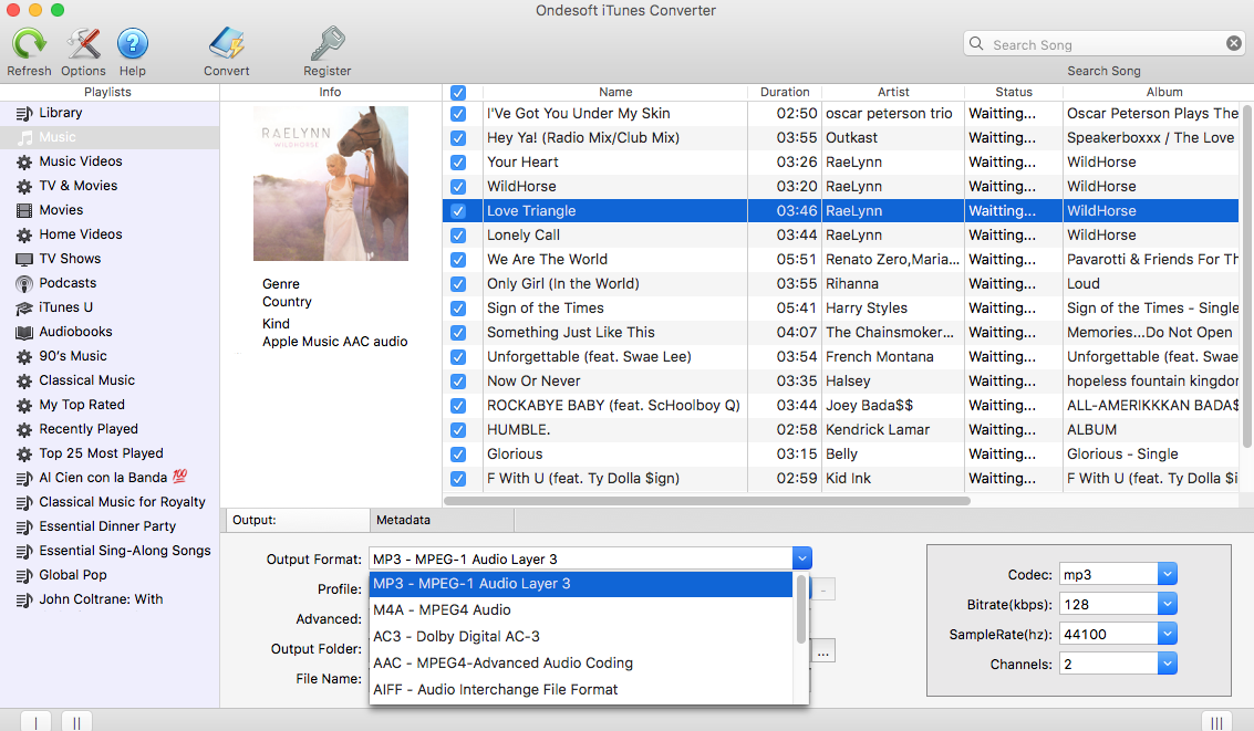 Ondesoft iTunes Converter For Mac Screenshot