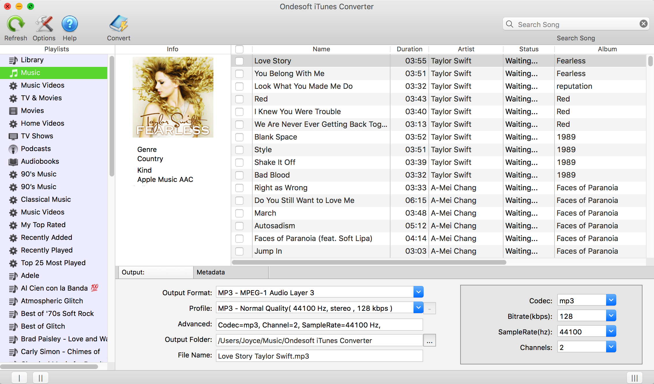 convert itunes library to mp3