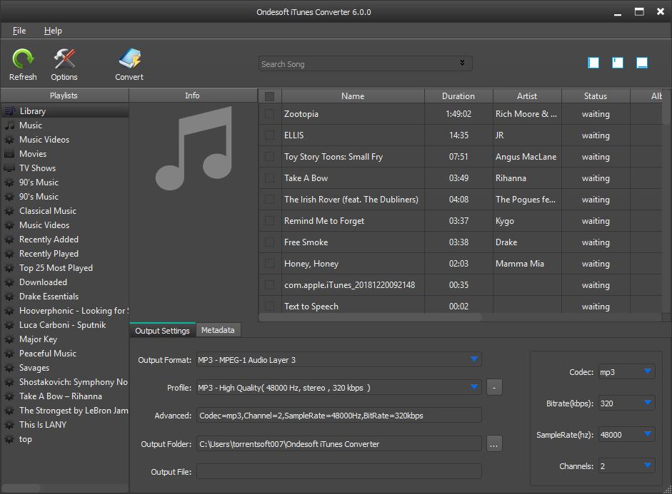 Ondesoft iTunes Converter for Windows 1.3.6